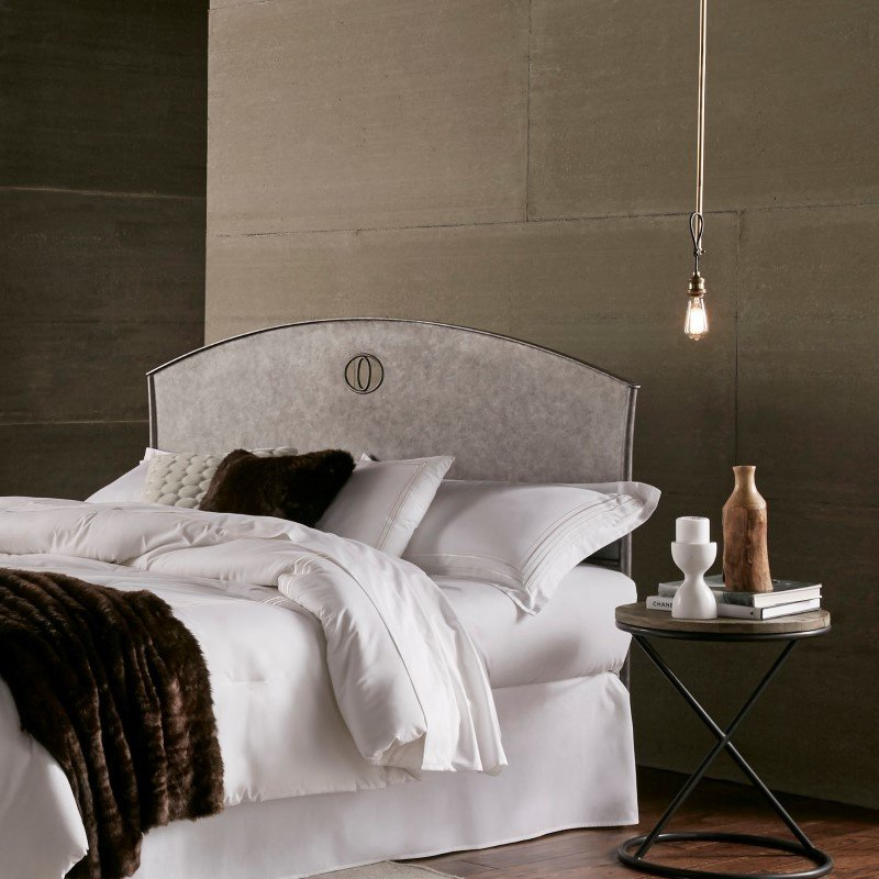 Fashion Bed Group Barrington Metal Headboard with Industrial Circular Design - Silver Bisque Finish - Queen