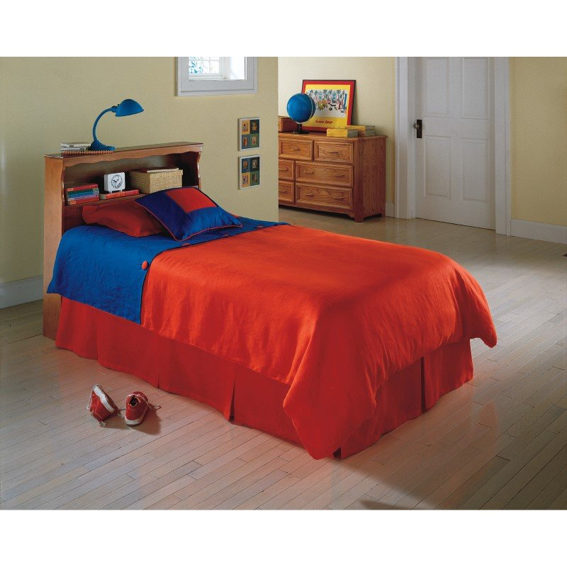 Fashion Bed Group Barrister Wooden Headboard Panel with Flat Top Surface and Bookcase - Bayport Maple Finish - Queen