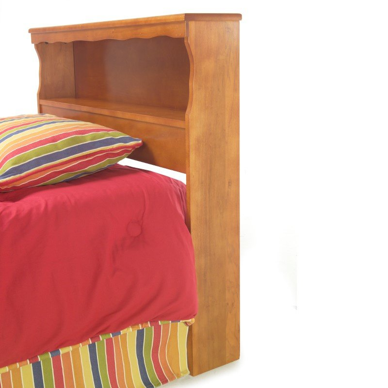 Fashion Bed Group Barrister Wooden Headboard Panel with Flat Top Surface and Bookcase - Bayport Maple Finish - Twin