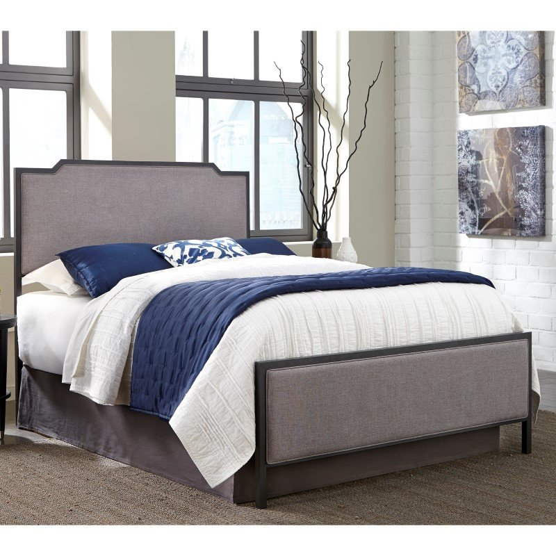 Fashion Bed Group Bayview Complete Bed with Metal Panels and Gray Dove Upholstery - Black Pearl Finish - Queen