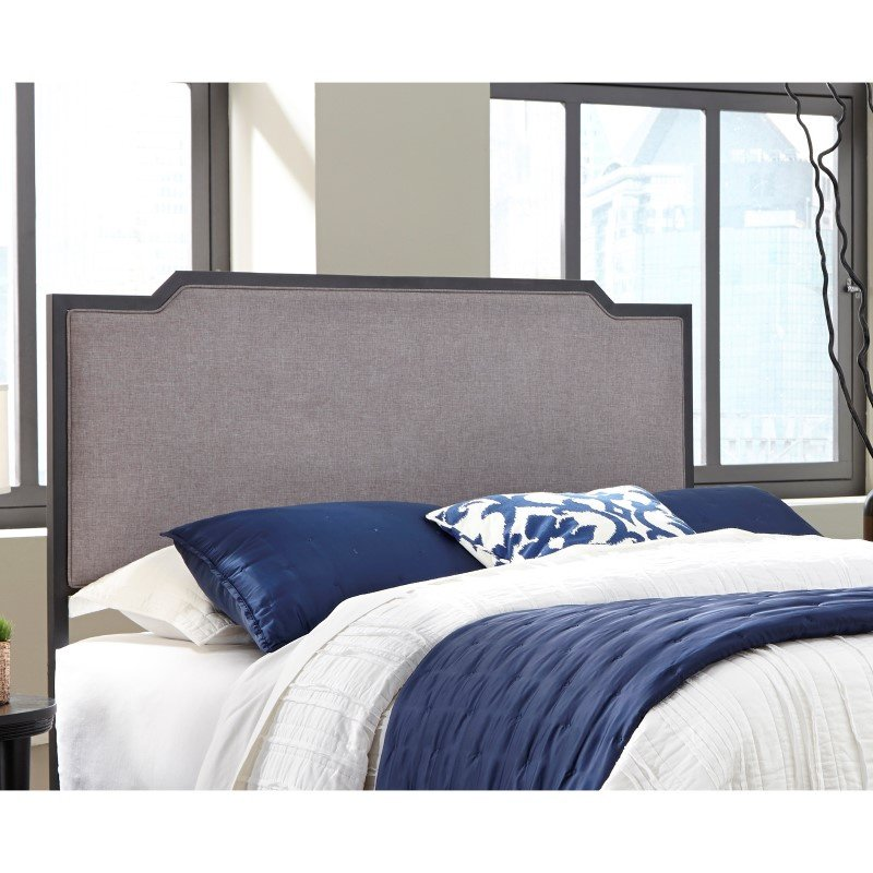 Fashion Bed Group Bayview Metal Headboard with Gray Dove Upholstery - Black Pearl Finish - Queen