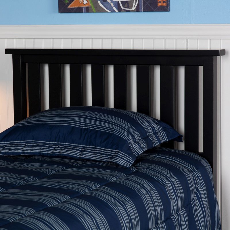 Fashion Bed Group Belmont Wooden Headboard Panel with Slatted Grill Design - Black Finish - Twin