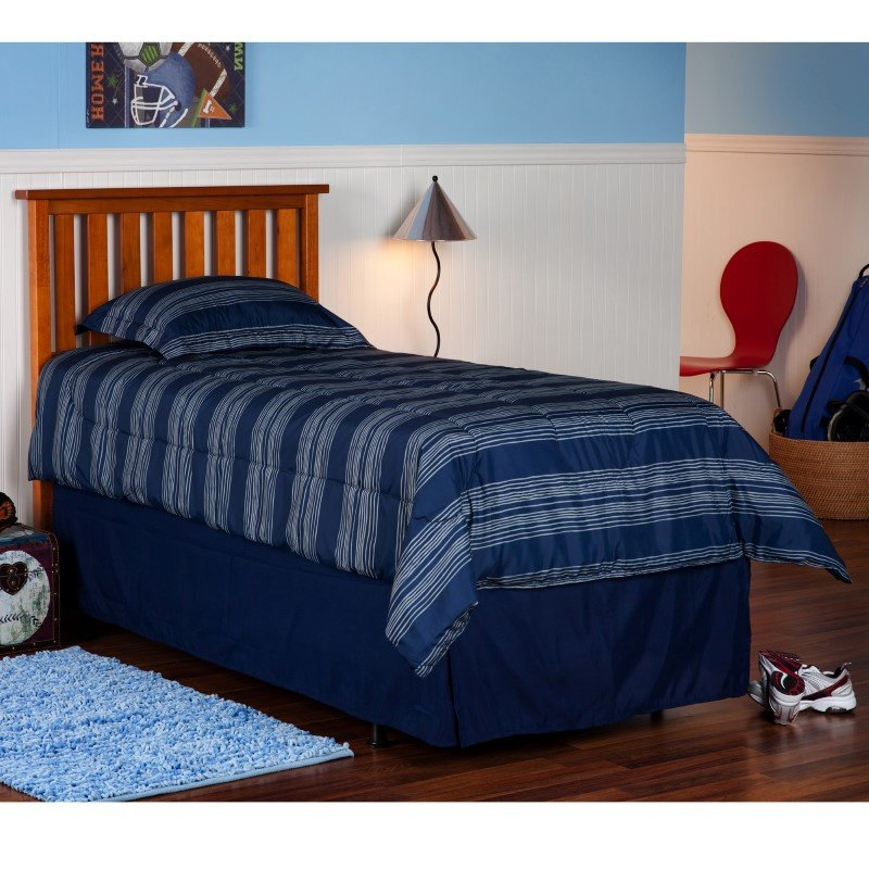 Fashion Bed Group Belmont Wooden Headboard Panel with Slatted Grill Design - Maple Finish - Twin