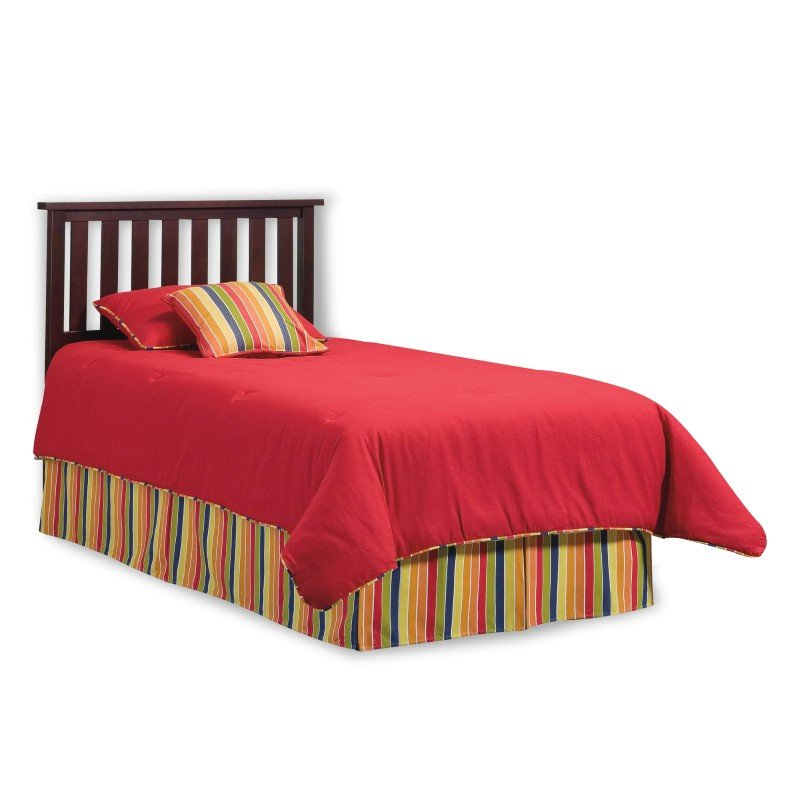 Fashion Bed Group Belmont Wooden Headboard Panel with Slatted Grill Design - Merlot Finish - Twin
