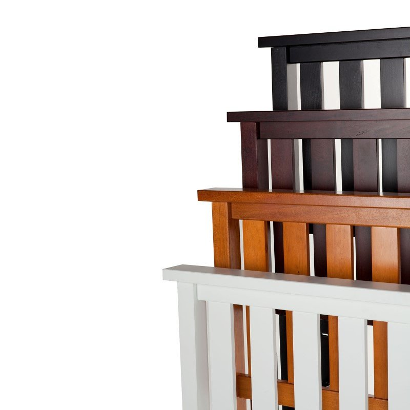 Fashion Bed Group Belmont Wooden Headboard Panel with Slatted Grill Design - White Finish - Twin