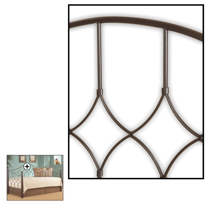 Fashion Bed Group Bianca Metal Daybed Frame with Arched Back Panel and Espresso Wood Finial Posts - Hammered Pewter Finish - Twin
