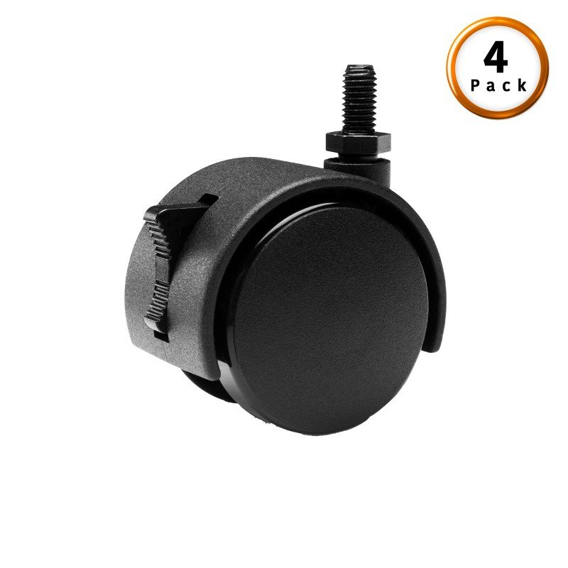 Fashion Bed Group Black Screw-In Locking Rug Roller Caster Legs - 4-Pack