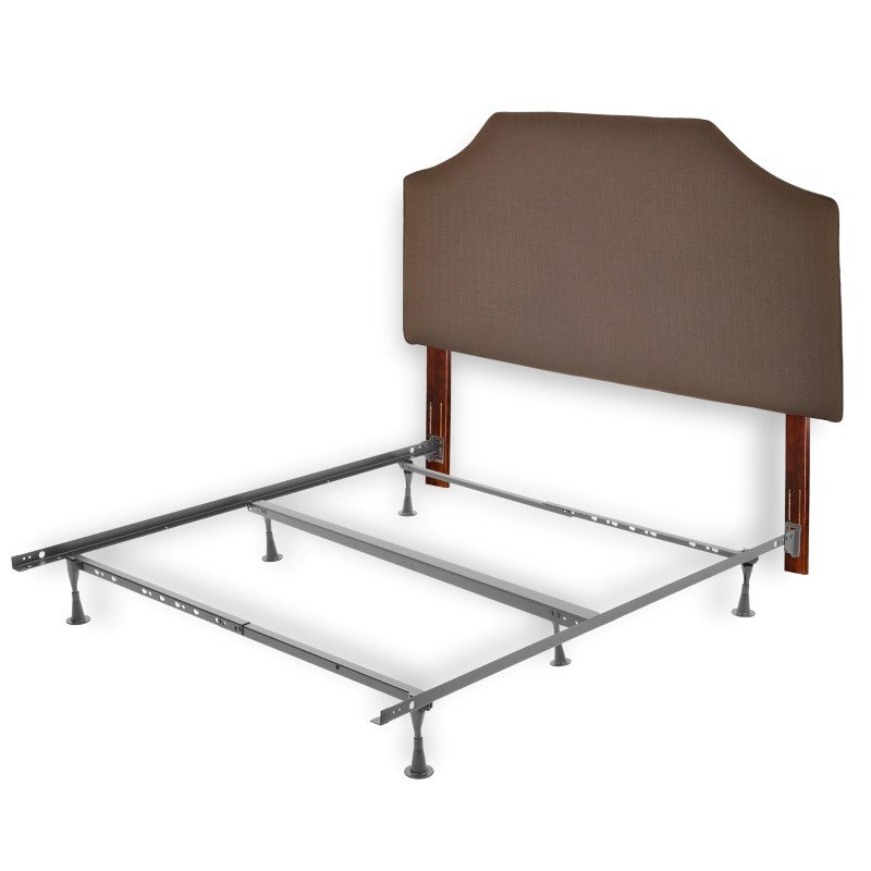 Fashion Bed Group Bordeaux Complete Bed with Upholstered Headboard and 45G Steel Support Frame - Dolphin Finish - Twin