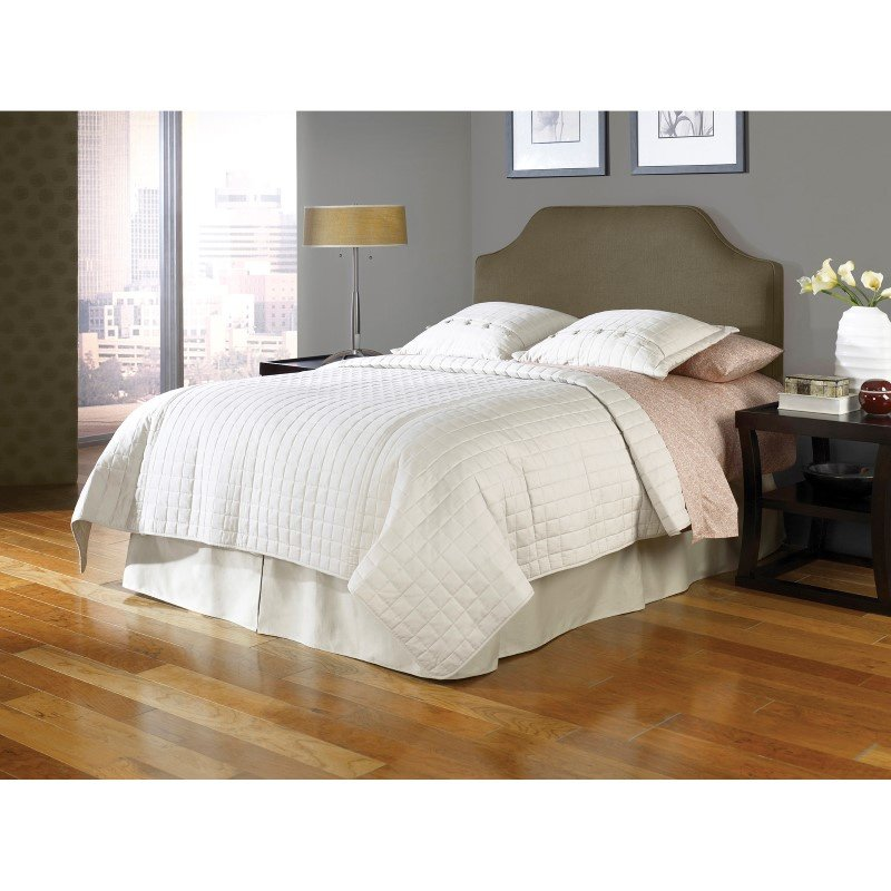 Fashion Bed Group Bordeaux Upholstered Adjustable Headboard Panel with Solid Wood Frame and Sweeping Curve Design - Dolphin Finish - King/California King