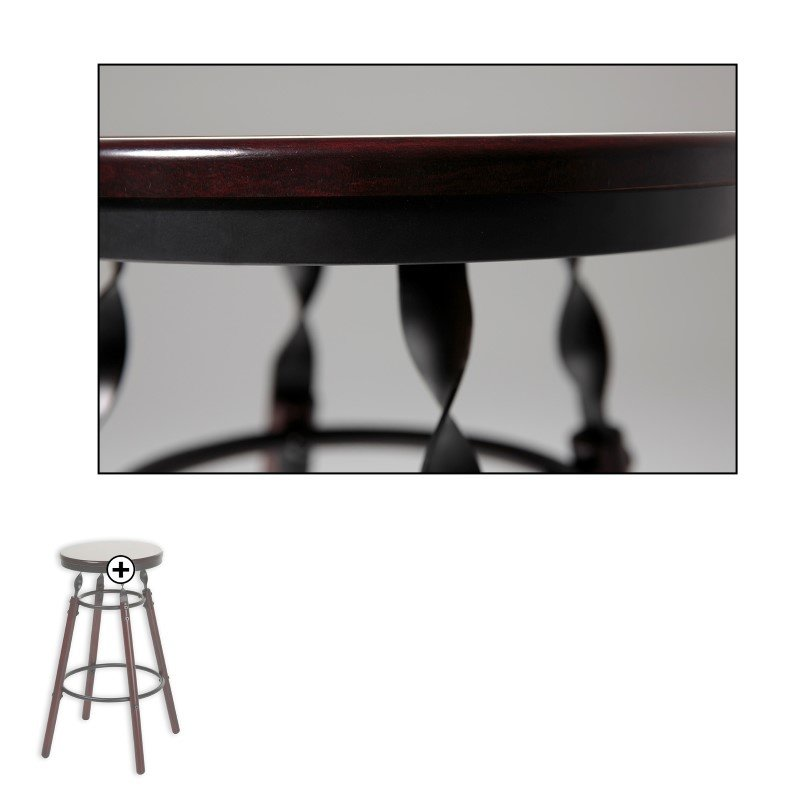 Fashion Bed Group Boston Wood Barstool with Dark Cherry Backless Seat and Charcoal Metal Finish - 26-Inch