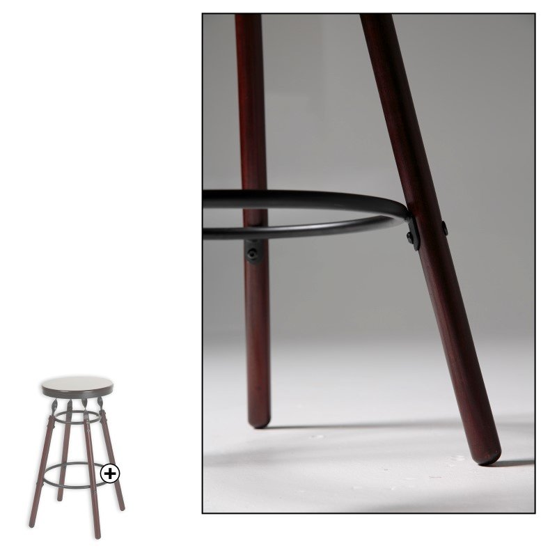 Fashion Bed Group Boston Wood Barstool with Dark Cherry Backless Seat and Charcoal Metal Finish - 30-Inch