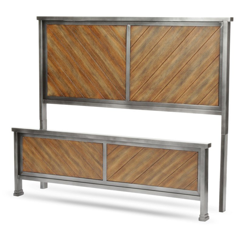 Fashion Bed Group Braden Bed with Metal Panels and Reclaimed Wood Design - Rustic Tobacco Finish - King