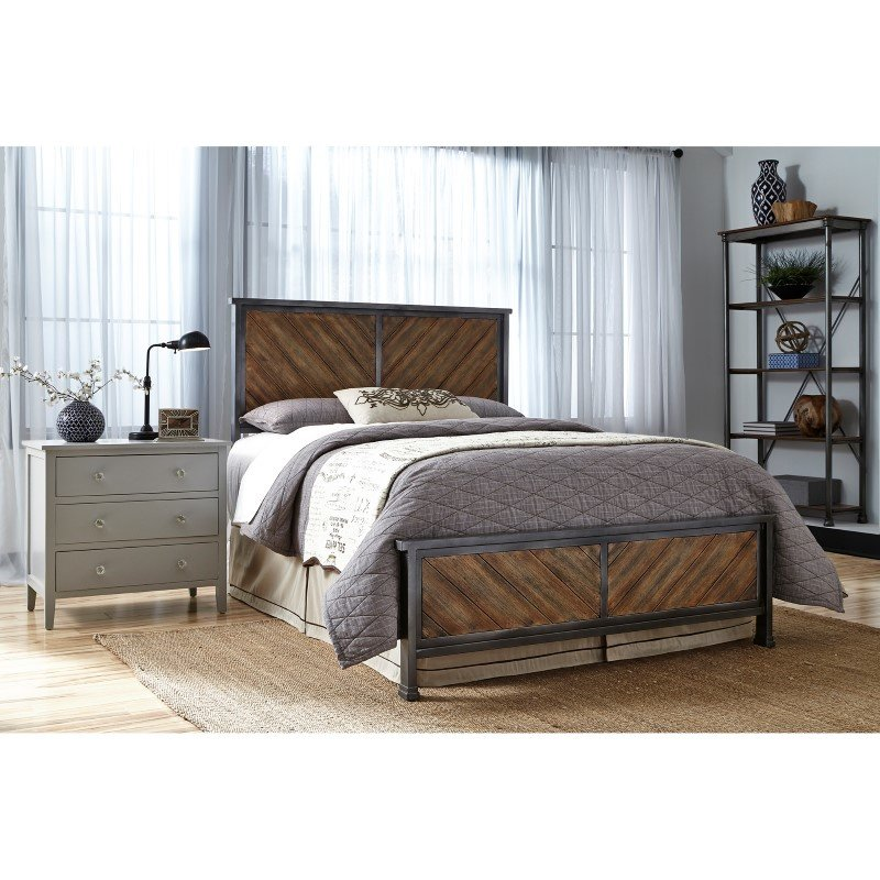 Fashion Bed Group Braden Complete Bed with Metal Panels and Reclaimed Wood Design - Rustic Tobacco Finish - Queen
