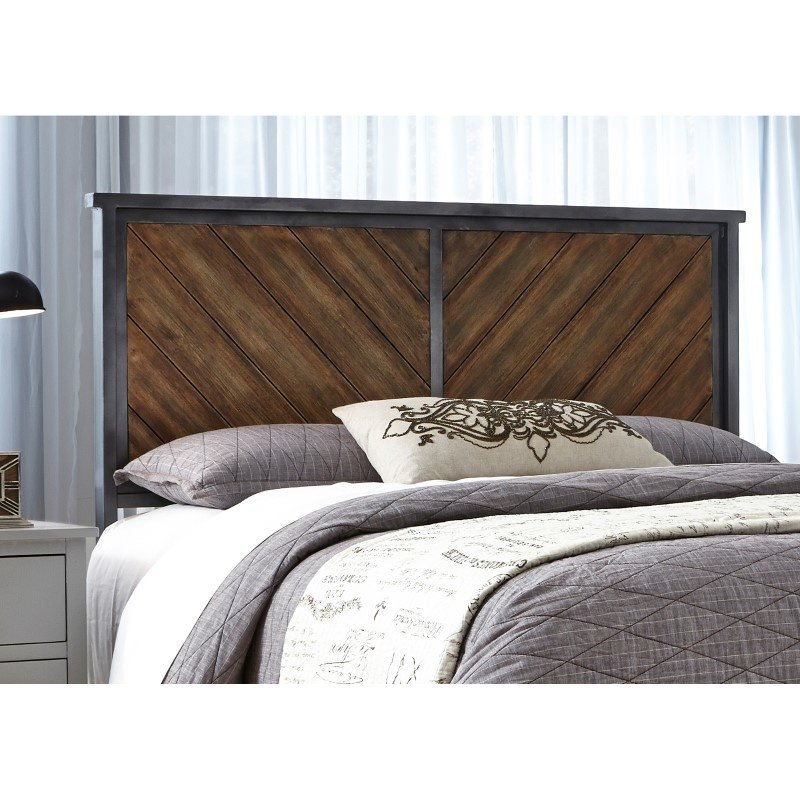 Fashion Bed Group Braden Metal Headboard Panel with Reclaimed Wood Design - Rustic Tobacco Finish - King