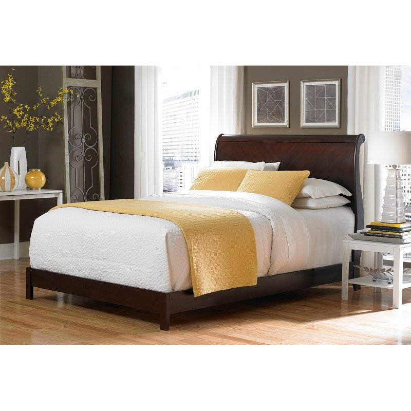 Fashion Bed Group Bridgeport Platform Complete Bed with Curved Sleigh Headboard - Espresso Finish - Queen