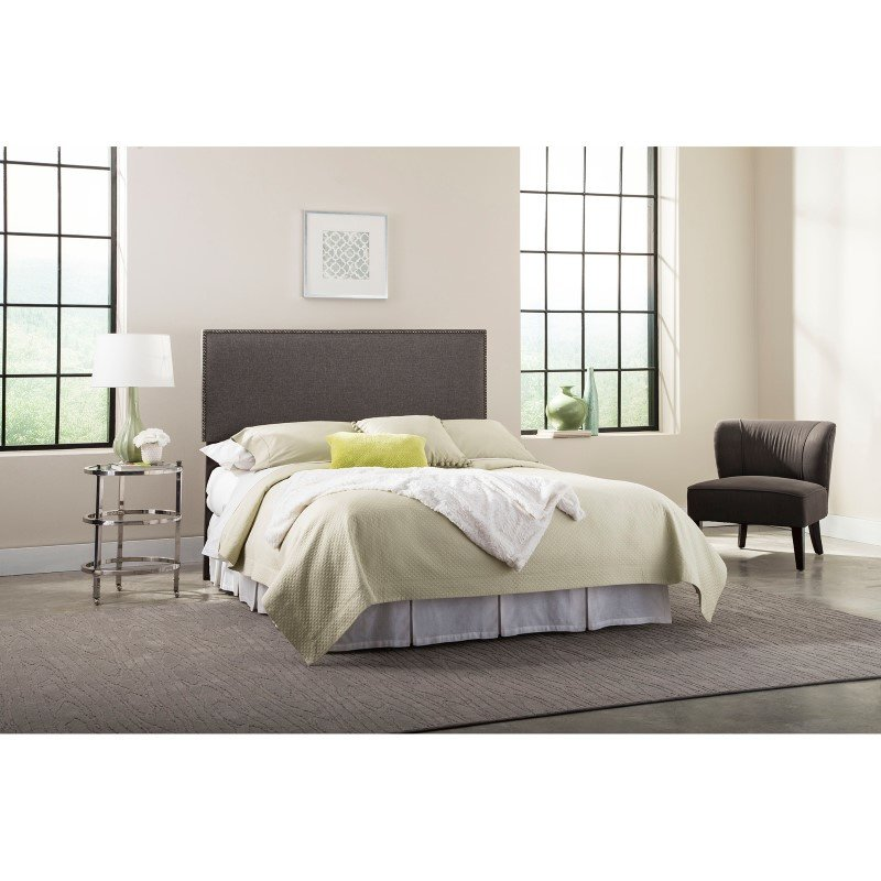 Fashion Bed Group Brookdale Upholstered Headboard Panel with Solid Wood Adjustable Frame and nail head Trim Design - Jitterbug Gray Finish - Full/Queen