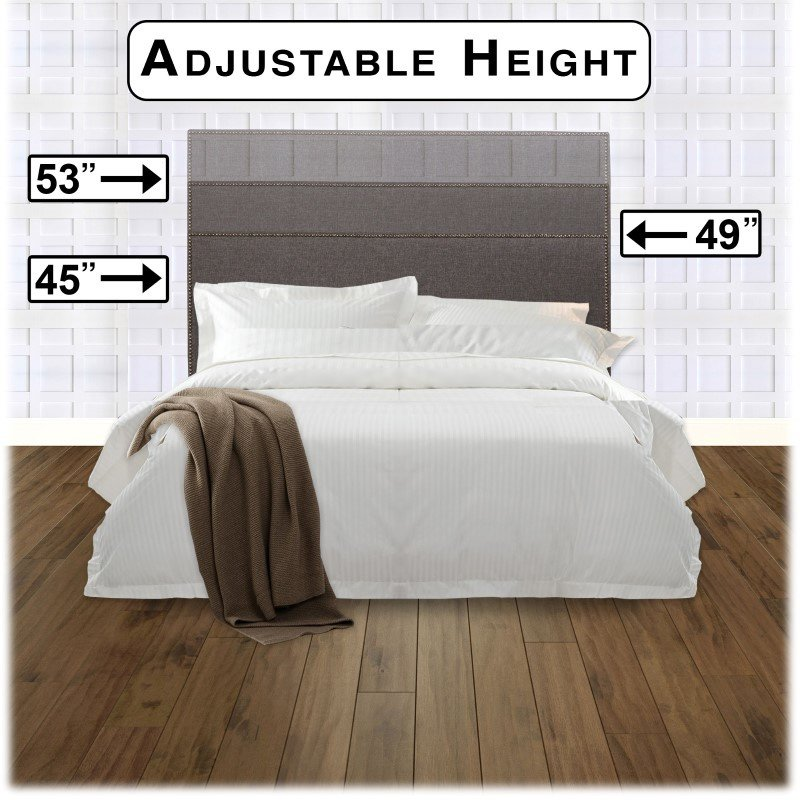 Fashion Bed Group Brookdale Upholstered Headboard Panel with Solid Wood Adjustable Frame and nail head Trim Design - Jitterbug Gray Finish - King/California King