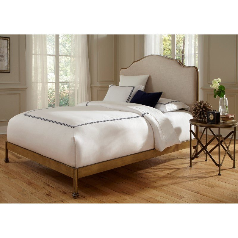 Fashion Bed Group Calvados Complete Bed with Metal Headboard and Sand Colored Upholstery - Natural Oak Finish - King