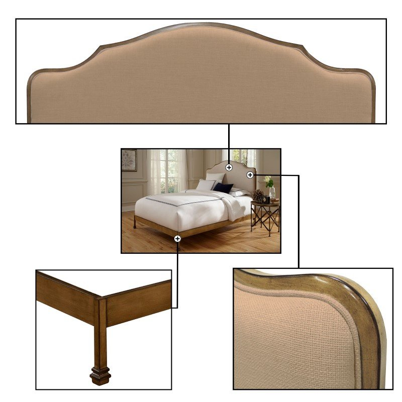 Fashion Bed Group Calvados Complete Bed with Metal Headboard and Sand Colored Upholstery - Natural Oak Finish - Queen