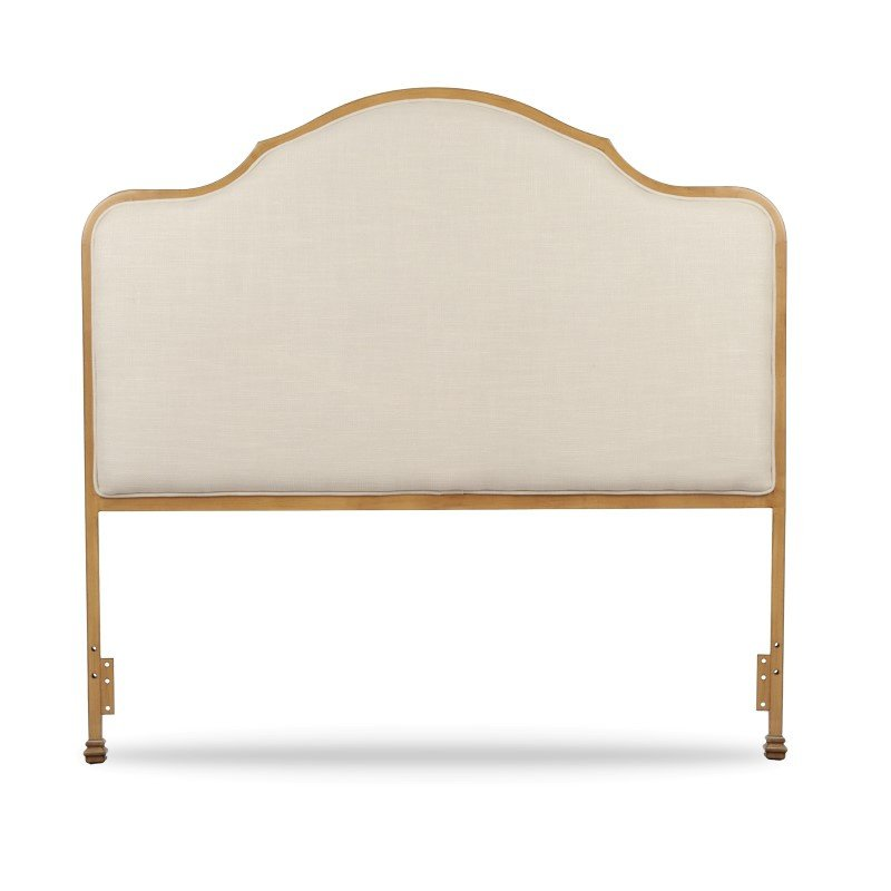Fashion Bed Group Calvados Metal Headboard with Sand Colored Upholstery - Natural Oak Finish - California King