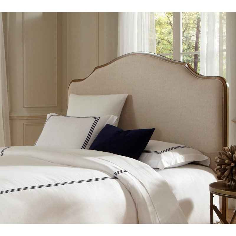 Fashion Bed Group Calvados Metal Headboard with Sand Colored Upholstery - Natural Oak Finish - Queen