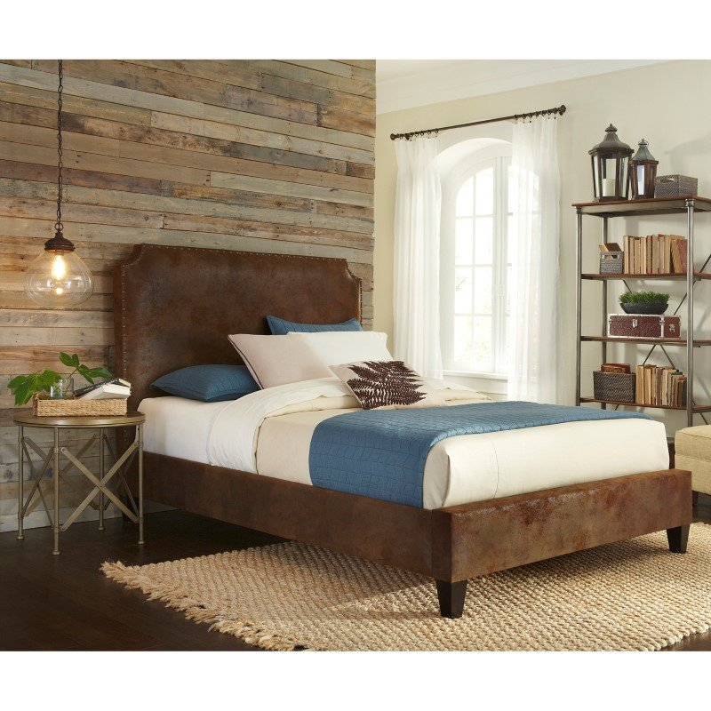 Fashion Bed Group Canterbury Complete Bed with Bonded Leather Upholstered Exterior and Nail head Trim - Pinto Tobacco Finish - King