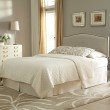 Fashion Bed Group Carlisle Upholstered Headboard Panel with Solid Wood Adjustable Frame and Nail head Trim Design - Grande Pearl Finish - Full/Queen