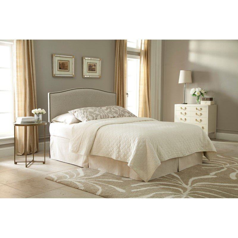 Fashion Bed Group Carlisle Upholstered Headboard Panel with Solid Wood Adjustable Frame and Nail head Trim Design - Grande Pearl Finish - King/California King
