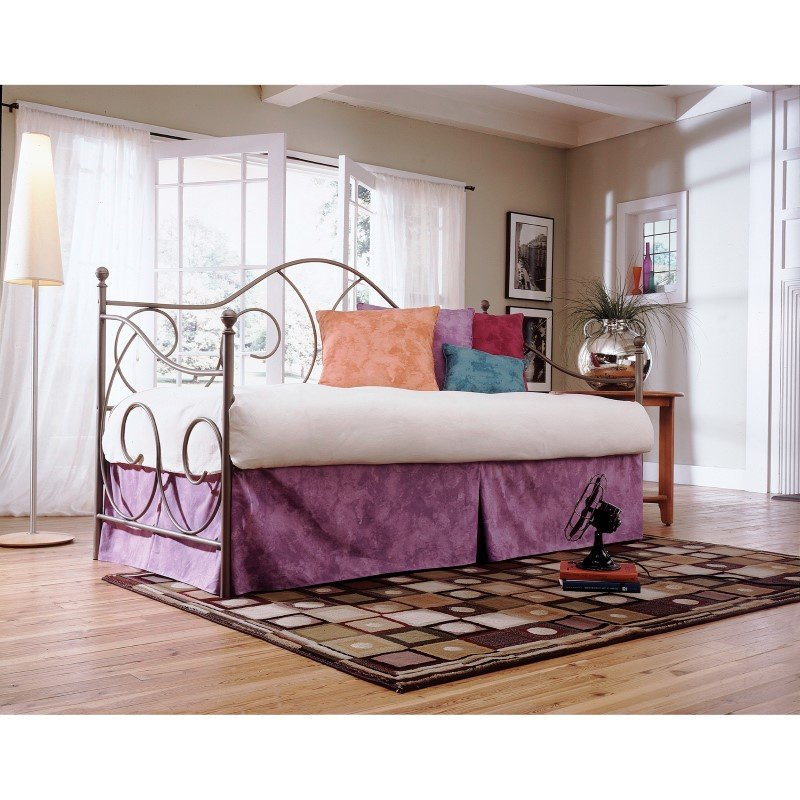 Fashion Bed Group Caroline Metal Daybed Frame with Sloping Back Panel and Curved Line Design - Flint Finish - Twin