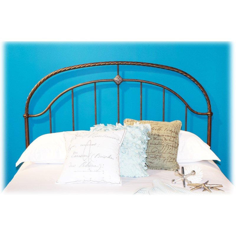 Fashion Bed Group Cascade Headboard with Metal Panel and Twisted-Rope Rail - Ancient Gold Finish - California King