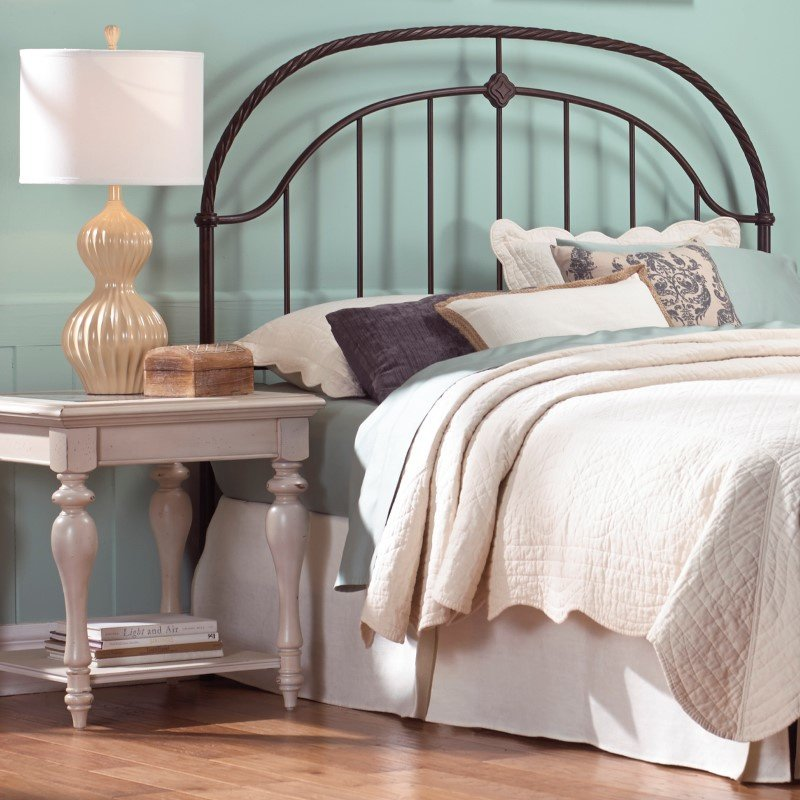 Fashion Bed Group Cascade Headboard with Metal Panel and Twisted-Rope Rail - Ancient Gold Finish - Queen Size