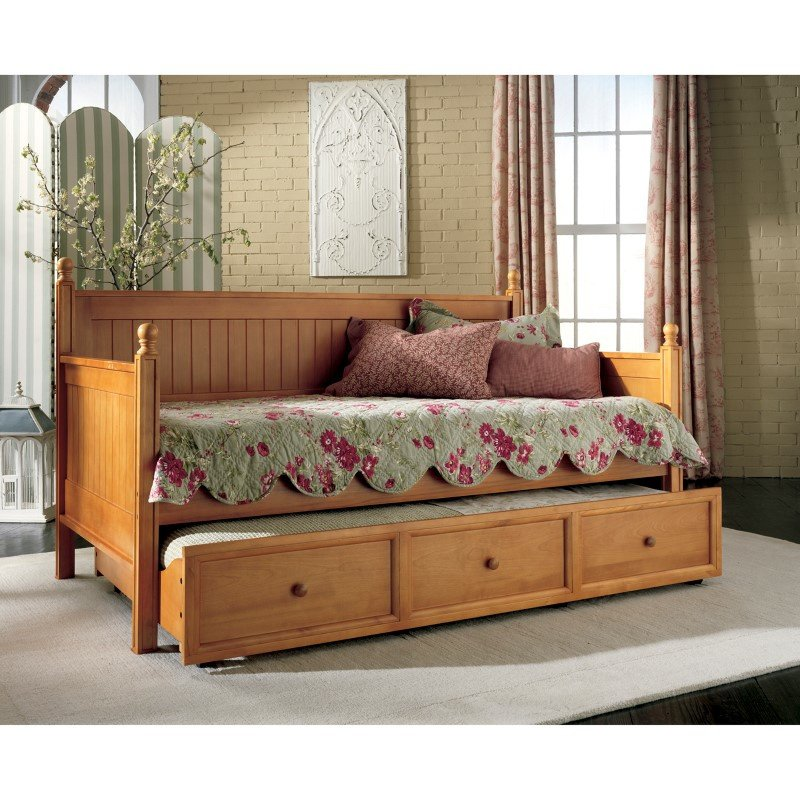 Fashion Bed Group Casey II Wood Daybed with Ball Finials and Roll Out Trundle Drawer - Honey Maple Finish - Twin