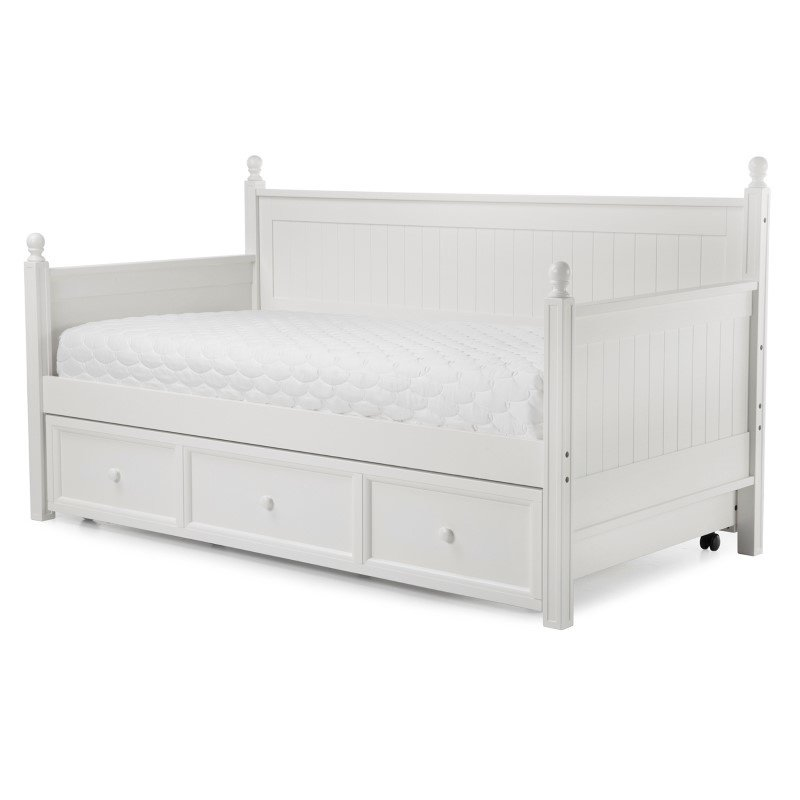 Fashion Bed Group Casey II Wood Daybed with Ball Finials and Roll Out Trundle Drawer - White Finish - Twin