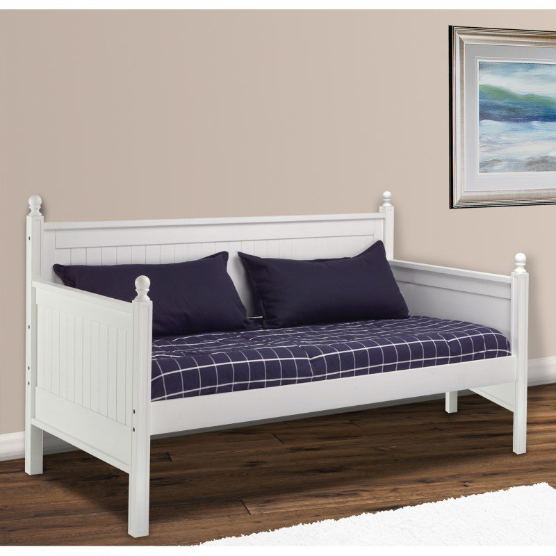 Fashion Bed Group Casey II Wood Daybed with Ball Finials - White Finish - Twin