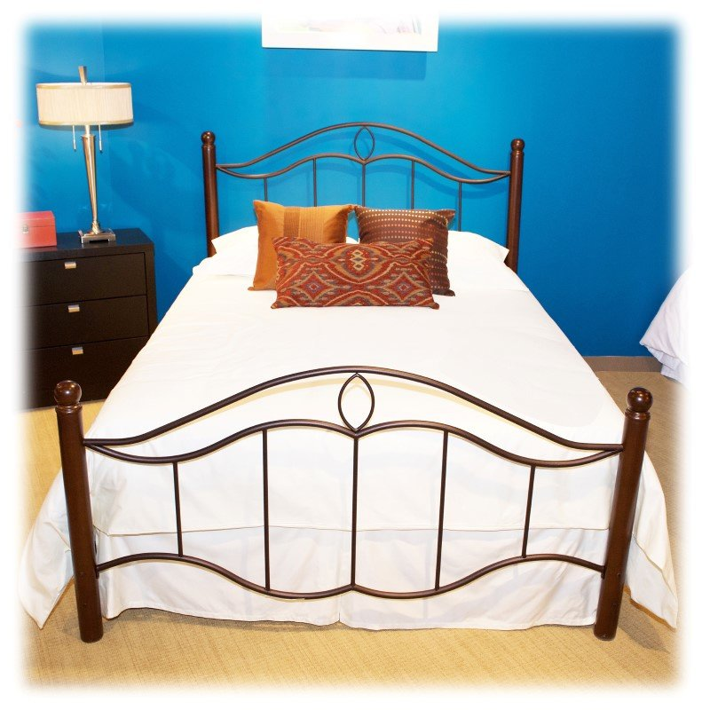 Fashion Bed Group Cassidy Complete Bed with Metal Duo Panels and Dark Walnut Wood Posts - Mink Finish - California King