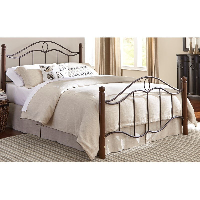 Fashion Bed Group Cassidy Complete Bed with Metal Duo Panels and Dark Walnut Wood Posts - Mink Finish - Queen