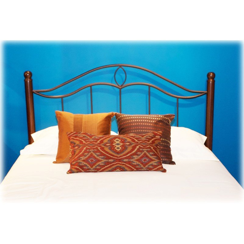 Fashion Bed Group Cassidy Metal Headboard Panel with Dark Walnut Wood Posts - Mink Finish - Full