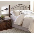Fashion Bed Group Cassidy Metal Headboard Panel with Dark Walnut Wood Posts - Mink Finish - Queen