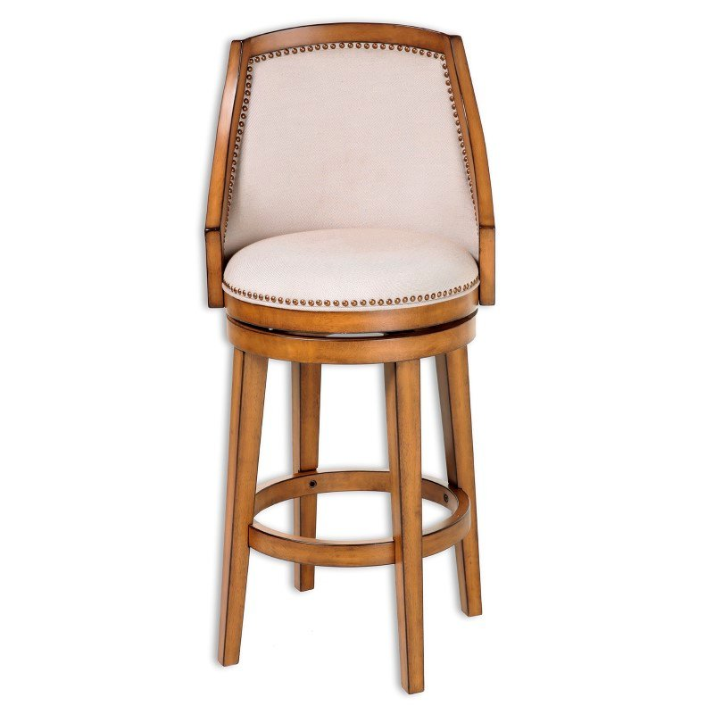 Fashion Bed Group Charleston Wood Barstool with Putty Upholstered Nail head Trim Swivel-Seat and Acorn Frame Finish - 30-Inch