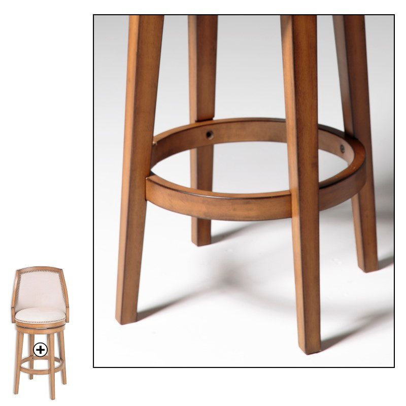 Fashion Bed Group Charleston Wood Counter Stool with Putty Upholstered Nail head Trim Swivel-Seat and Acorn Frame Finish - 26-Inch