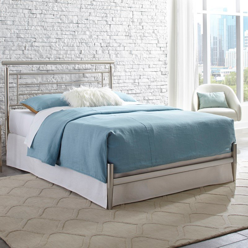 Fashion Bed Group Chatham Complete Bed with Rounded Metal Headboard Rail and Swaged Legs - Satin Finish - Queen