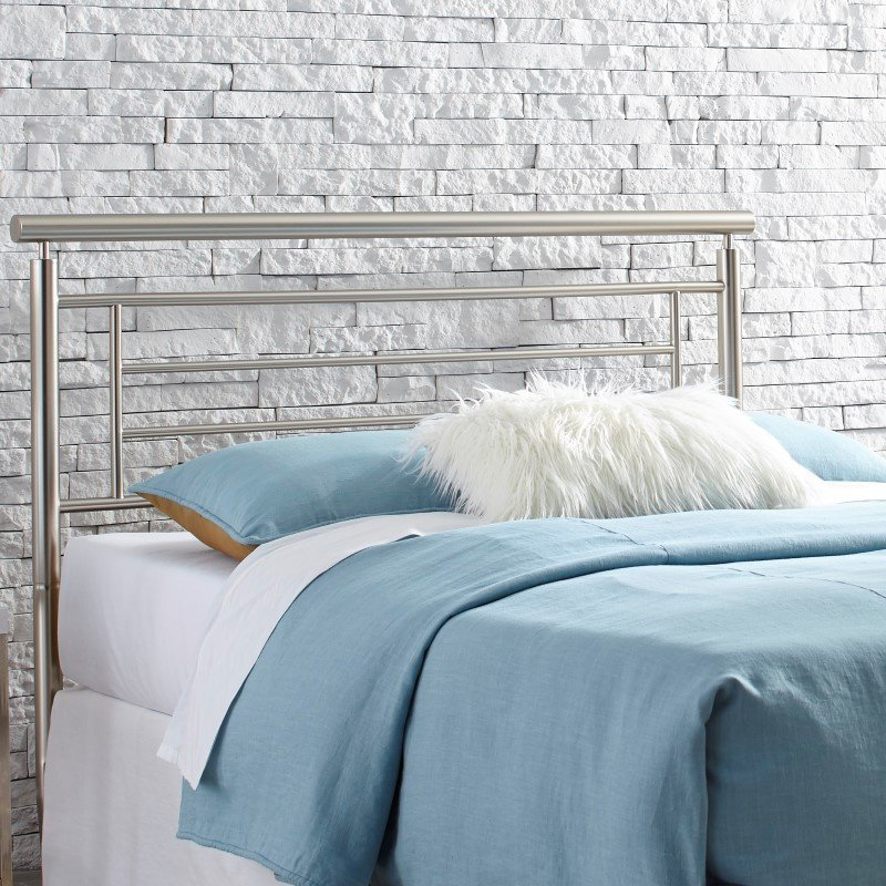 Fashion Bed Group Chatham Metal Headboard with Rounded Top Rail - Satin Finish - Queen