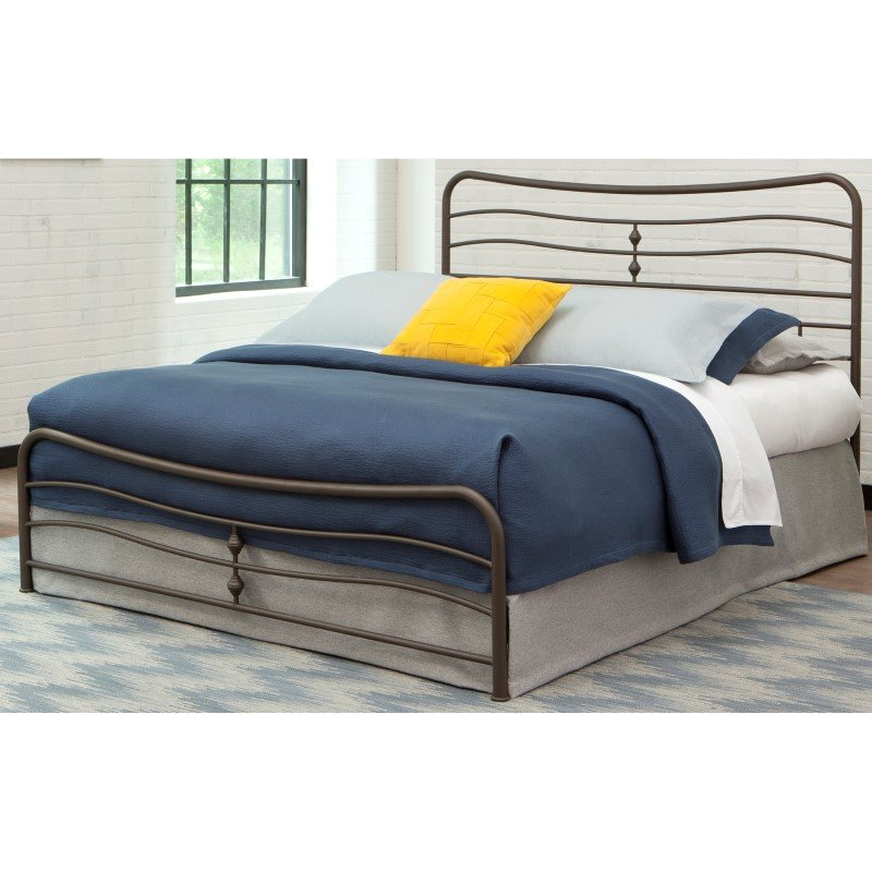 Fashion Bed Group Cosmos Snap Bed with Flowing Curves Panel Design and Folding Metal Side Rails - Coffee Finish - King
