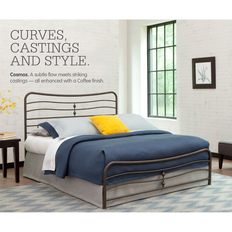 Fashion Bed Group Cosmos Snap Bed with Flowing Curves Panel Design and Folding Metal Side Rails - Coffee Finish - Queen