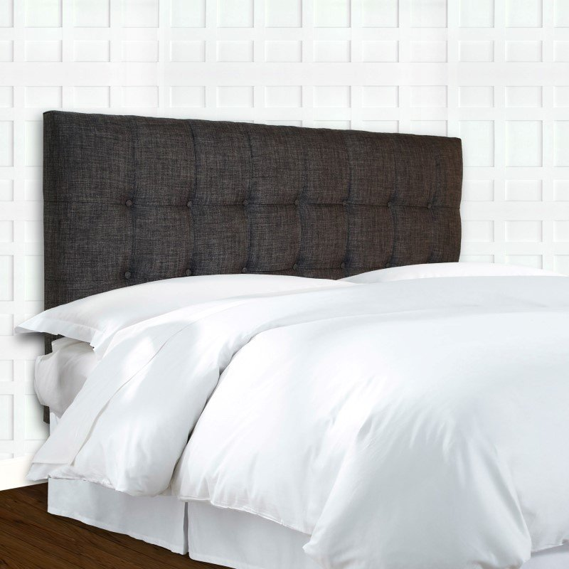 Fashion Bed Group Covington Upholstered Headboard Panel with Solid Wood Adjustable Frame and Button-Tufted Design - Grande Carbon Gray Finish - Full/Queen