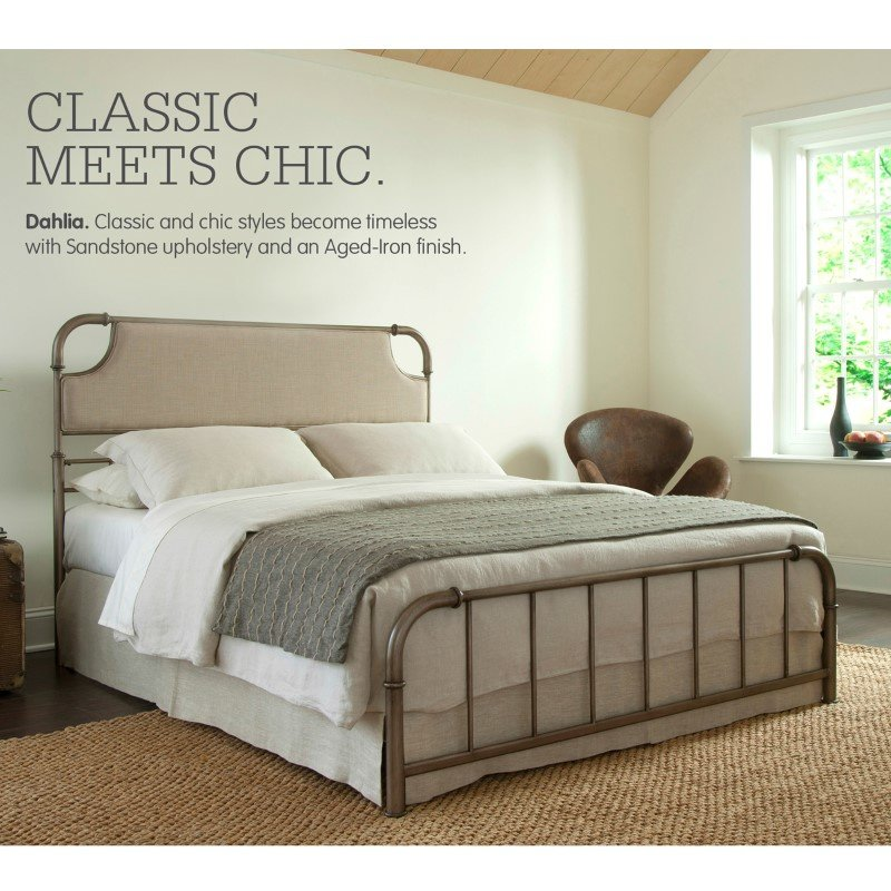 Fashion Bed Group Dahlia Snap Bed with Upholstered Headboard and Folding Metal Side Rails - Aged Iron Finish - King