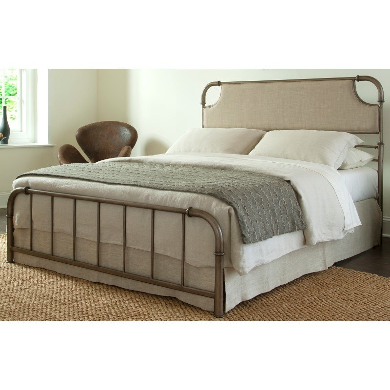 Fashion Bed Group Dahlia Snap Bed with Upholstered Headboard and Folding Metal Side Rails - Aged Iron Finish - Queen