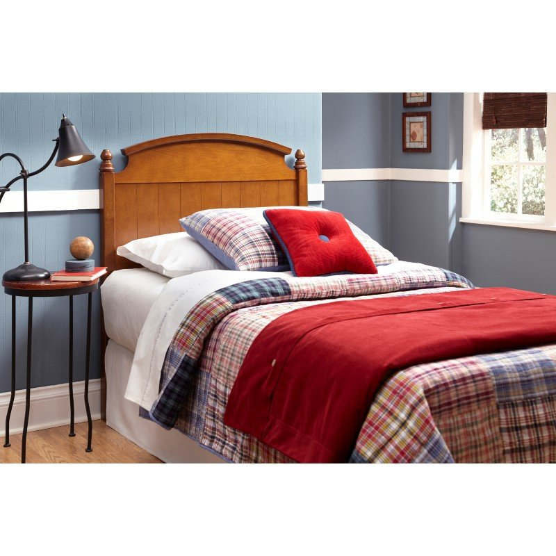 Fashion Bed Group Danbury Wooden Headboard Panel with Curved Topped Rail and Carved Finials - Walnut Finish - Twin