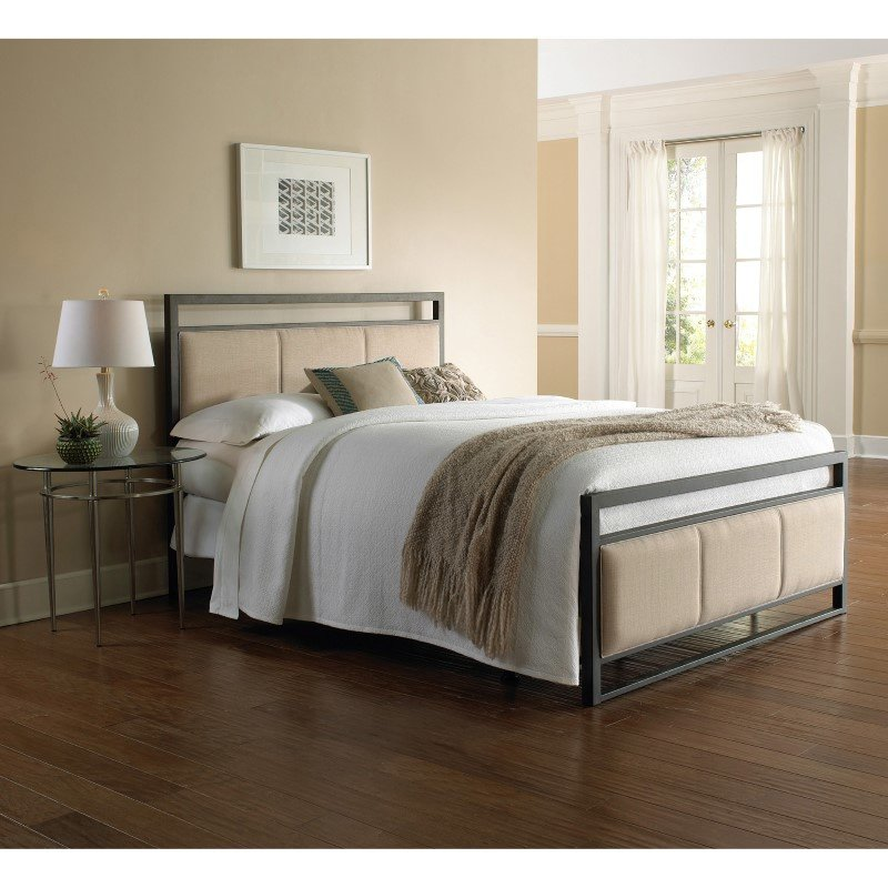 Fashion Bed Group Danville Complete Bed with Squared Metal Tubing and Buckwheat Upholstered Panels - Coffee Finish - California King