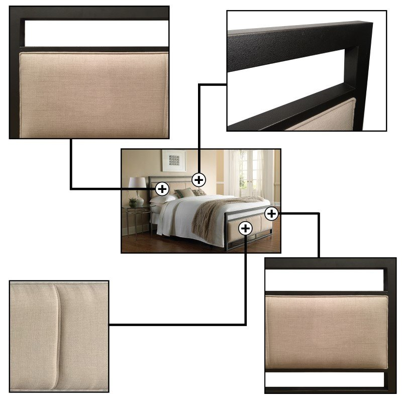 Fashion Bed Group Danville Complete Bed with Squared Metal Tubing and Buckwheat Upholstered Panels - Coffee Finish - Full